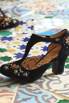 songbird embroidered t-straps, Anthropologie (Oh why doesn't the Montreal store have shoes?!!!)