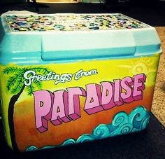 Alpha Gamma Delta cute cooler idea. Love the Greetings from Paradise idea. Get inspired for when you make your cooler. #AGD