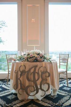 Sweetheart Table Monogram 275x412 Elegant and Metallic Wedding Reception in Virginia: Kim + Erik