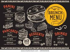 Brunch restaurant menu. Vector food flyer for bar and cafe. Design template with vintage hand-drawn illustrations. Food Menu Design, Food Truck Design, Cafe Design, Burger Menu, Pizza Menu, Steak Menu, Japanese Menu, Mexican Menu, Seafood Menu