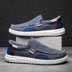 Summer Shoe Mesh Canvas Men's Casual Shoes Breathable Loafers Slip on Men Flats Hot Sale Soft Driving Shoes Man Moccasins | Touchy Style Royal Blue Shoes, Light Blue Shoes, Blue Suede Shoes, Casual Shoes, Men Casual, Driving Shoes Men, Elegante Designs, Summer Shoes, Loafers Men