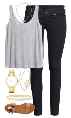"""""""jeans"""" by whitegirlsets ❤ liked on Polyvore featuring H&M, Steve Madden, Kate Spade and Kendra Scott"""