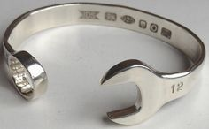 Sterling Silver SPANNER BANGLE 925 Solid Wrench Bracelet UK Hallmarked HAND MADE