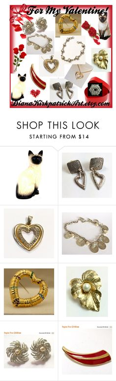 """For my Valentine"" by diana-32 ❤ liked on Polyvore featuring Royal Doulton, Sarah Coventry, Trifari, Avon and vintage"