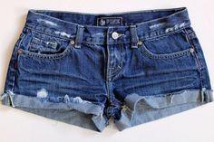 Victoria's Secret PINK Lowrise Cut-Off Cuffed Distressed Denim Jean Shorts 0 #VictoriasSecret #Denim