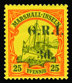 Marshall Inseln 34 (54) 1914 3d on 25pf black and red on yellow Marshall Islands Yacht, G.R.I. overprint, sixth setting (5mm)--pos 3