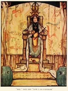 """Rie Cramer - Grimm's fairy tales (c1922) - """"Yes,"""" said she """"Now I am Emperor."""""""