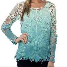 ⚫️BLACK FRIDAY Turquoise ombré crochet top Absolutely beautiful!  Tops