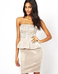 Lipsy Strapless Embellished Peplum Dress