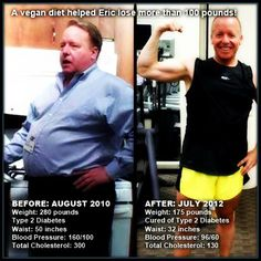 Cured of Type 2 Diabetes. Lost over 100 lbs. after going vegan.