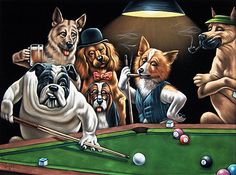 Arthur Sarnoff Dogs Playing Pool | Velvet Painting of Dogs Playing Pool/Billiards 24x18