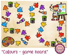 """Teacher In Wonderland: Frage- und Ereigniskärtchen für das """"Colours-game board"""""""