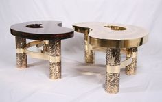 Coffee Table Beann Etched Brass and Fractal Resin - Limited Edition