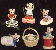1992 Sew, Sew Tiny Hallmark ornaments at AMM/Christmas Past-- like these ideas