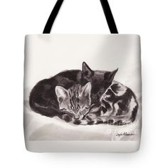 """""""Sleeping Kittens"""" Tote Bag 18"""" x 18"""" Layla Alexander - new ink painting Sibling kittens are always together. They love cuddling up to sleep on white linen curtains. Painted with black ink on Arches watercolour paper."""