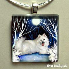 AMERICAN ESKIMO DOG  square glass tile pendant