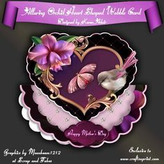 """Alluring Orchid Heart Shaped Wobble Card Mini Kit on Craftsuprint designed by Karen Adair - This two sheet mini-kit will make this beautiful, large scallop wobble card, with a heart shaped scallop-edged over the edge topper. The kit contains a card, approximately 8"""" in diameter, and plenty of decoupage. The kit also includes 5 sentiment tags, one of which I have left blank so that you can personalise if you wish. If you like this check out my other designs, just click on my name. - Now ..."""