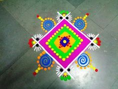 how to make beautiful square latest rangoli - K285 - YouTube