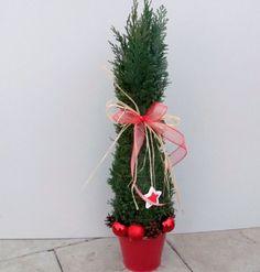 Přírodní, vánoční stromeček v červené...