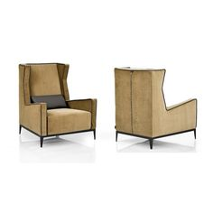 Arketipo - Goldfinger Chair. Luxury wing armchair with contrasting piping, designed by Leonardo Dainelli and available in a wide choice of fabrics.