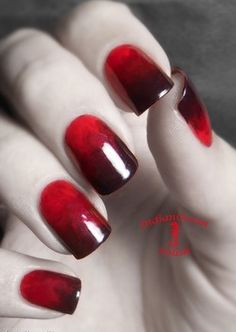 Red nails with just enough spook for Halloween! #FestiveFingertips #nails Re-Pinned by #DiscountQueens Red Nails, Hair And Nails, Love Nails, How To Do Nails, Pretty Nails, Black Nails, Gradient Nails, Halloween Nail Art, Halloween Vampire