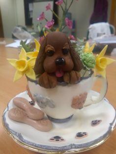 Fondant cup with dog. Fondant, Pudding, Cakes, Dog, Desserts, Diy Dog, Tailgate Desserts, Deserts, Cake Makers