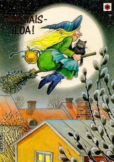 Priit Rea - Pääsiäisnoita Halloween, Illustrations, Vintage Postcards, Finland, Harvest, Scandinavian, Easter, Seasons, Glad