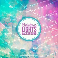 Watercolor christmas lights background Free Vector