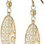 14k Yellow Gold Oval Ornament Earrings