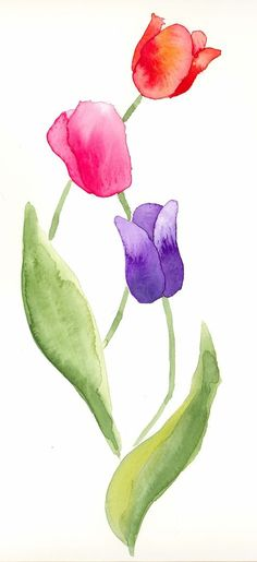 Watercolor tulips for spring Watercolor Painting Techniques, Easy Watercolor, Watercolour Tutorials, Watercolor Cards, Watercolour Painting, Watercolor Flowers, Painting & Drawing, Watercolors, Tulip Drawing