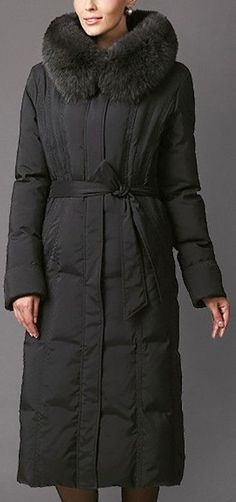 Belted Long Fur Collar Down Coat in Charcoal