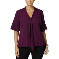 NY Collection Plus Womens Chiffon Tie-Neck Blouse