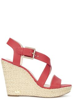 Michael Kors red saffiano leather sandals Espadrille�wedge heel measures approximately 4.5 inches/ 115mm Crossover straps, designer plaque Buckle fastening ankle strap