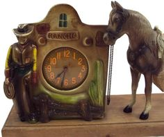 Vintage Cast Metal Rancho Cowboy Clock with E.R. Ives Horse on Etsy, $142.45 CAD
