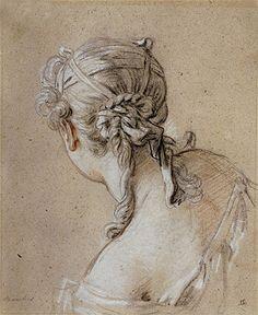 Title: Head of a Woman from Behind, c.1740  Artist: Francois Boucher  Medium: Print on Fine Art Paper