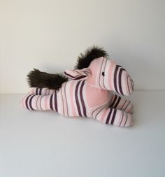 Pink and Maroon Striped Sock Horse 'CHEVAL' ........................ by TreacherCreatures | Etsy