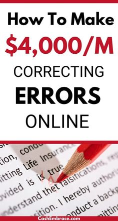 How to make money correcting errors online: proofreading jobs for beginners. You can earn an online income doing proofreading jobs from home. This proofreading training will show you how to become a well-paid proofreader online. Make money from home correcting spelling and grammar!#makemoneyonlineproofreading#proofreadingjobsforbeginners#proofreadingjobsfromhome#proofreadingtraining#onlinejobs Online Jobs From Home, Cash From Home, Earn Money From Home, Earn Money Online, Make Money Blogging, How To Make Money, Social Media Marketing Manager, Learning Websites, Spelling And Grammar