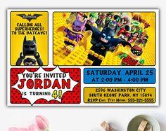 Lego Batman invitación fiesta de Batman Lego Batman