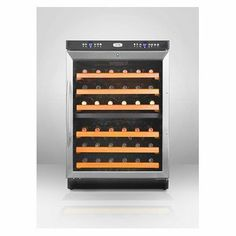 """Summit : SWC530LBI 24 Under-Counter Dual Zone Wine Cellar with 46-Bottle Capacity by Summit. $939.00. Slide-out wooden shelves with elegant stainless steel trim. Chill white and sparkling wine while preserving red in two distinct temperature zones. Factory installed lock provides security you can count on. Flexible design allows built-in or freestanding use in any 24"""" space. Easy temperature management with a digital thermostat. Wine Cooler with Wooden Shelves..."""