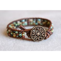 Rustic Picasso Boho beach beaded leather wrap bracelet, 1x Wrap... ($42) ❤ liked on Polyvore