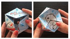 Kaleidocycle paper toy with a hand drawn design