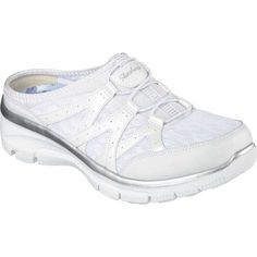e687db3c3f54 Skechers Women s Relaxed Fit Easy Going Repute Clog Sneaker White Silver