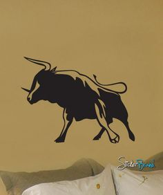 Vinyl Wall Decal Sticker Wild Bull Fight Stand #246 | Stickerbrand wall art decals, wall graphics and wall murals.