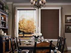 Hunter Douglas Blinds & Shades - rustic - Dining Room - Other Metro - Centurian Window Fashions- Hunter Douglas Gallery Living Room Blinds, House Blinds, Blinds For Windows, Window Blinds, Hunter Douglas Blinds, Bali Blinds, Bamboo Blinds, Cheap Blinds, Wooden Dining Chairs