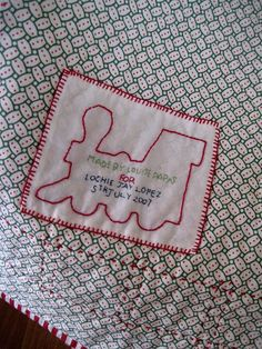 Train quilt label by lululollylegs, via Flickr