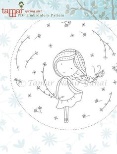 Embroidery Pattern Instant Download Spring por TamarNahirYanai