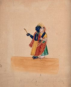Krishna and Radha. Gouache drawing.   Wellcome Collection