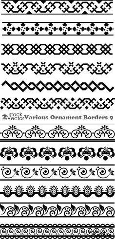 Разные орнаменты - векторные бордюры. Ornament Borders 9