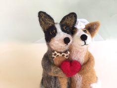 Blue Heeler Queensland heeler wedding cake topper dog by Felt4Soul