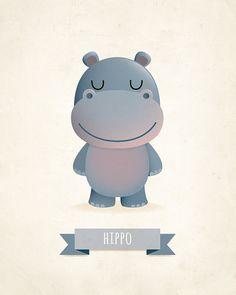 Hippo art print nursery art illustration by IreneGoughPrints